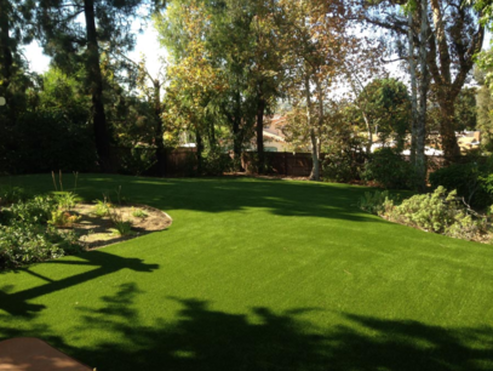 A photo of a back yard with the entire lawn comprised of synthetic turf