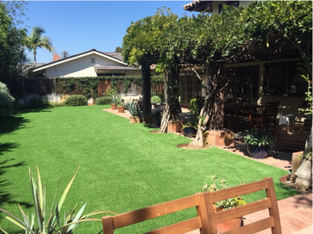 Photo of artificial lawn installed in back of a shady house